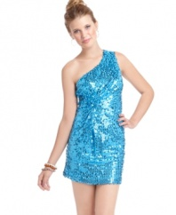 Hit the party scene in Sugar & Spice's sequined one-shoulder sheath. Oh-so-fun & totally glam, pair it with nude pumps.