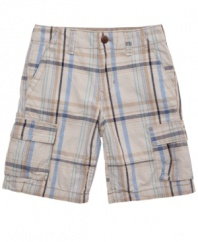 These cargos from Levi's are the plenary of preppy plaid for his warm-weather look.