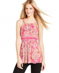 Easy-to-wear (and easy-to-pack) stretch jersey makes INC's petite paisley-print top a must-have for the warmer months.