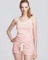 Sleep sweetly in Juicy Couture's heathered nighty. Ruffled satin hem is flirtatiously femme.