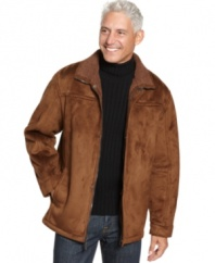 With the look of lush suede, this faux sherpa jacket from Weatherproof is ultra-sleek and warm just like the real deal.