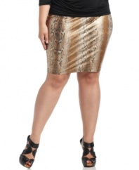 Showcase one of the season's hottest prints with Baby Phat's plus size snakeskin skirt, defined by a fitted pencil shape.