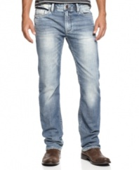 Your beat-up blues never looked so good. These straight-leg jeans from Buffalo David Bitton are faded out just right.