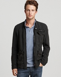 Crafted in lightweight linen for a relaxed, comfortable feel, this super-cool jacket has a wear-me-anytime vibe and rugged appeal with a little edginess to boot.