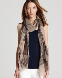 In Burberry's classic check, this oblong scarf offers lightweight luxe in a sheer, gauzy fabrication.