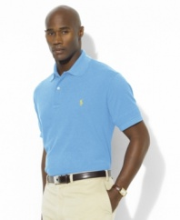 Short-sleeved polo shirt cut for a comfortable, classic fit.