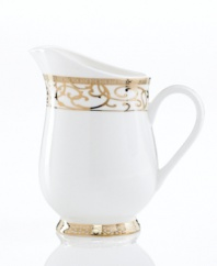 Intricate trim and scrolling vines in lavish gold make the Cru Athena creamer a fine-dining sensation and, in dishwasher-safe bone china, a dream for after dinner as well. Featuring an old-world silhouette for undeniable grandeur.