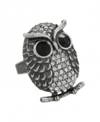 You would be wise to snap up the latest animal ring trend from City by City. Owl rings are all the rage amongst celebrities and fashionistas alike, and this sparkling style is no exception. Crafted from antique silver tone mixed metal, jet crystal eyes and a clear crystal body lend this ring an unforgettable look. Sizes 5, 6, 7, 8 and 9.