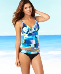 Outshine the sun in this colorful tankini top from 2Bamboo!