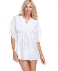 Cover up in style with Raviya's cotton tunic! The eyelet details give it a charming, feminine look. (Clearance)