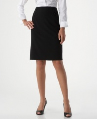 AGB's stylish pencil skirt impresses both coming and going, with button accents along the front yoke and a pretty back flounce.