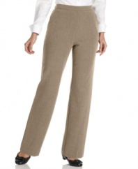 Get a sleeker, slimmer look in JM Collection's petite pull-on pants with tummy control features for a flattering fit.