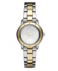 From corporate to casual, this watch by DKNY is always classic. Two-tone stainless steel bracelet and round case with gold tone bezel embellished by crystal accents. Sleek mother-of-pearl dial features gold tone stick indices, three hands and logo. Quartz movement. Water resistant to 30 meters. Two-year limited warranty.
