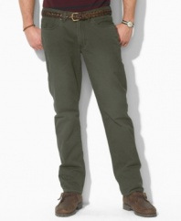 A casual pant is tailored from sun-faded mid-weight chino, designed for authentic five-pocket styling and a straight leg.