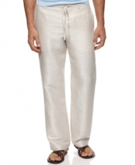 Complete your dapper leisure look with these linen pants from Perry Ellis. Perfectly casual. Perfectly cool.