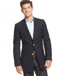 A timeless American standard. This good-looking navy blazer offer a trim fit and classic gold-button details.