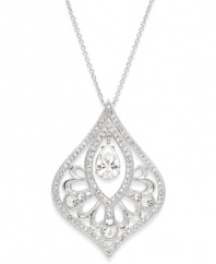 Serious sparkle. Cubic zirconias (1-1/2 ct. t.w.) and crystals shine brightly on this pretty pendant necklace from Eliot Danori. Set in silver tone mixed metal, it's sure to stand out whenever you wear it! Approximate length: 16 inches + 2-inch extender. Approximate drop: 1-1/2 inches.