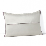 Surround yourself with the elegance of this Waterford decorative pillow, boasting a silver ground with plum hued piping and a crisp button back.