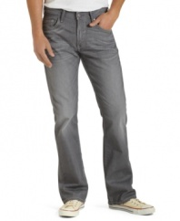 Take a break from the blues with these gray boot-cut jeans from Levi's.