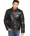 Just add a Harley. The sleek and smooth look of this genuine leather jacket from Guess works just as well off the hog.