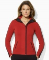 Both stylish and sporty, Lauren by Ralph Lauren's sleek full-zip cardigan is crafted from luxe combed cotton with bold color-blocking for an athletic touch.