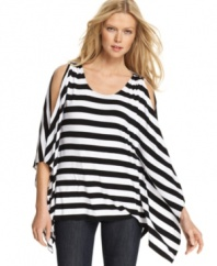 Go for a graphic edge with this MICHAEL Michael Kors striped top -- cutouts add eye-catching appeal!