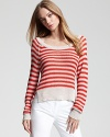 A lightweight layer to love, this BCBGMAXAZRIA striped sweater travels to your destination with the same ease that it wears. Pair the cropped look with all your resort-ready staples for instant island style.