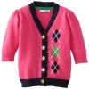 Hartstrings Baby-girls Infant V-Neck Cardigan Sweater, Berry Pink, 24 Months