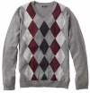 Liz Claiborne Apt 9 Mens Merino Wool Blend Argyle Sweater XXL 2XL Grey Burgundy