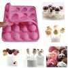 Surprising A set of Silicone Cake Mold (20-cavity) Half Circle Lollipop Party Cupcake Baking Mold Cake Pop Stick Mold Tray (Pink)